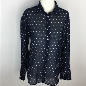 J.Crew Women's Shirt Polka Dot Button Front Sz 2